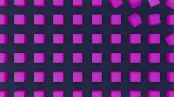 Zökkenőmentesen hurkolt 3D animáció forgatása lila kockák