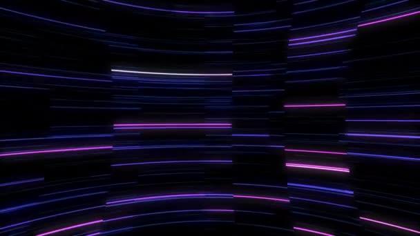 Leuchtende Leuchtlinien, die sich drehen. Nahtlos