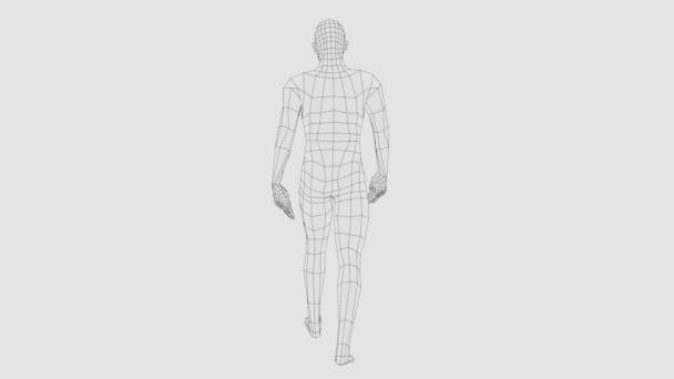 Wireframe walking man, seamless