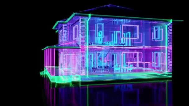 Zweistöckiges Gebäude aus abstraktem Glas mit Neonbeleuchtung