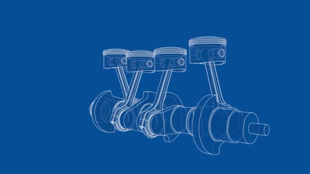 A forgattyústengely és négy dugattyú animációja. Vezetékkeret vagy tervrajz stílusban