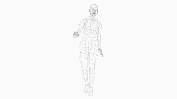 Wireframe walking woman, zökkenőmentes hurkos animáció