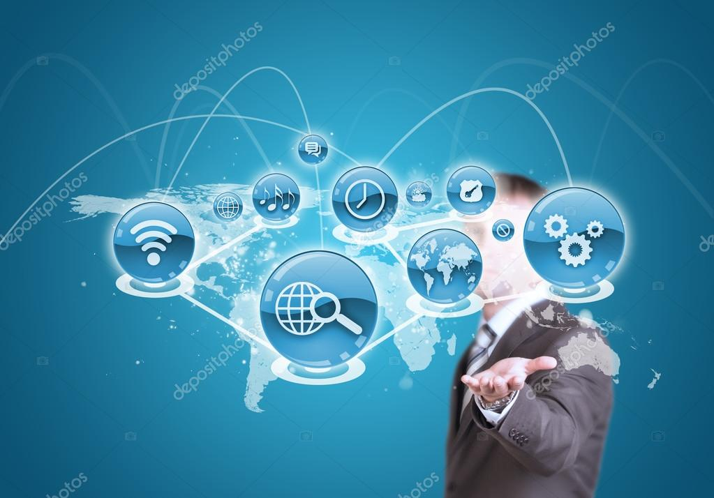Businessman hold cloud of application icon and world map stock business man hold cloud of blue application icon and world map in hand photo by cherezoff gumiabroncs Gallery