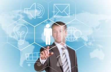 Business man pointing her finger at cloud icons