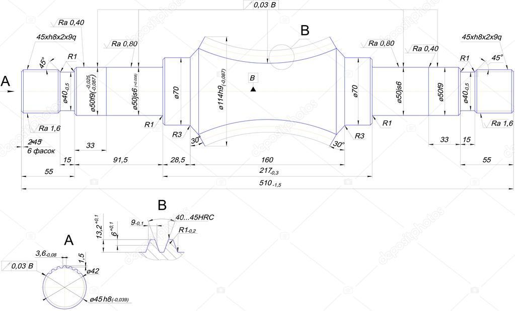 Technicky Vykres Z Oceloveho Hridele Stock Vektor C Cherezoff