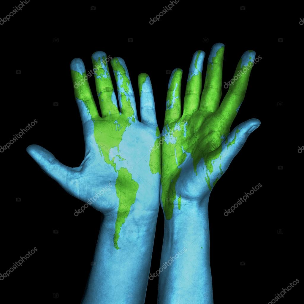 World map painted on human hands stock photo cherezoff 58143879 world map painted on human hands stock photo gumiabroncs Image collections