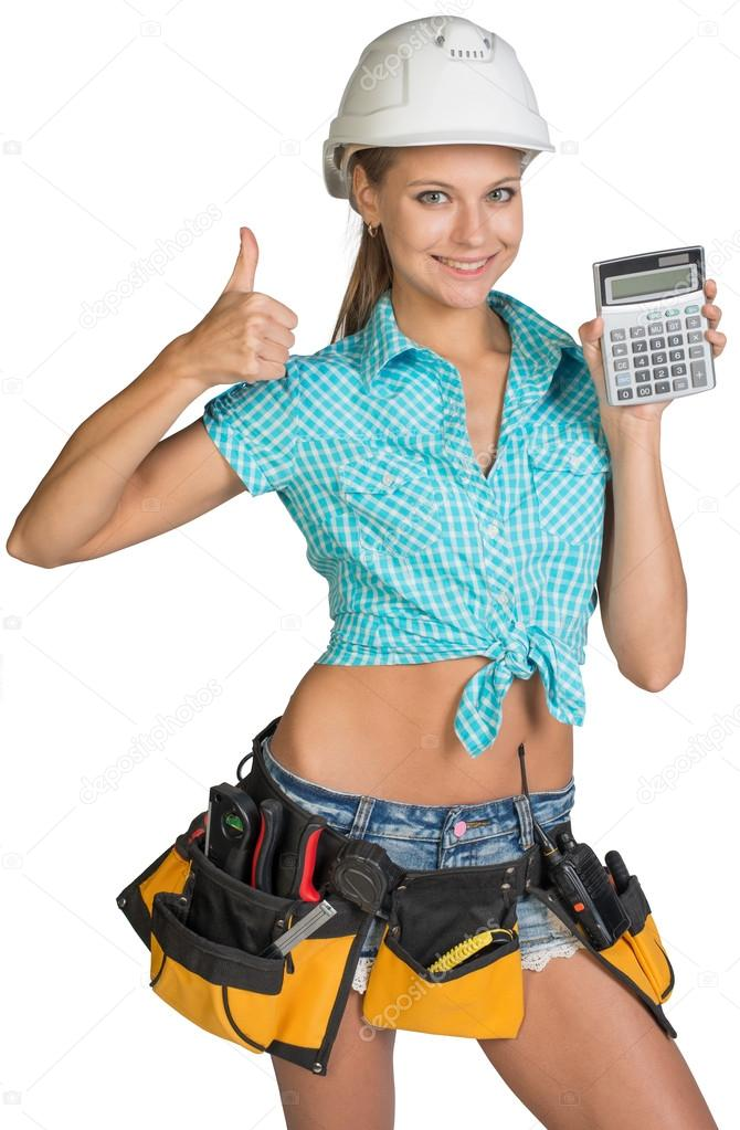 woman in hard hat and tool belt showing calculator giving thumb up