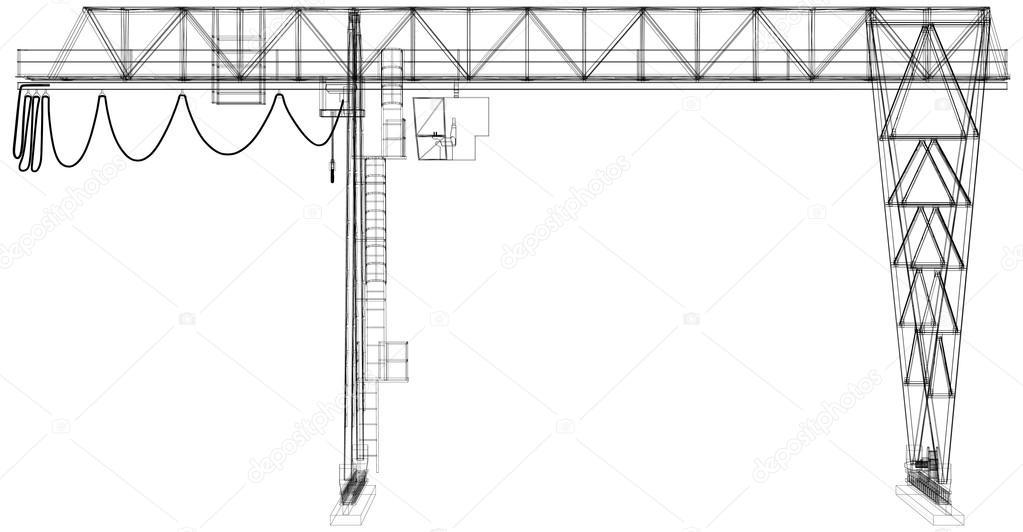 Bokkraan. Wire-frame. Vector weergave van 3d — Stockvector ...