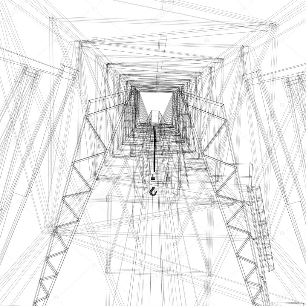 Grúa de pórtico. Marco de alambre. Representación de vectores 3D ...