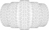 Keil aus fünf Drahtrahmen Reifen. Vektor-illustration