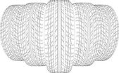 Skizze der fünf Drahtrahmen Reifen. Vektor-illustration