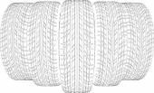 Fünf Drahtrahmen Reifen. Vektor-illustration