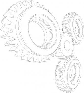 Sketch of wire-frame gears. Perspective view. Teamwork concept. Vector illustration