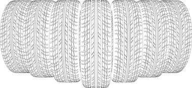 Seven wire-frame tires. Vector illustration