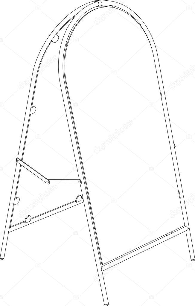 Drahtmodell Bürgersteig Zeichen. Perspektivische Ansicht. Vektor ...