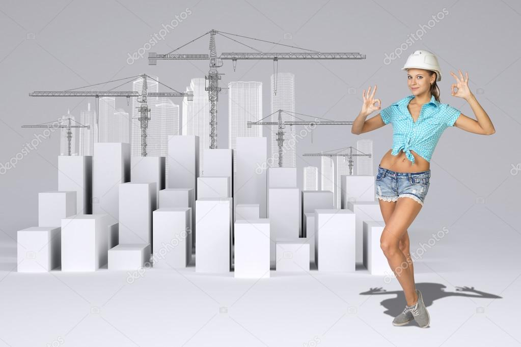 Woman working at 3d construction site