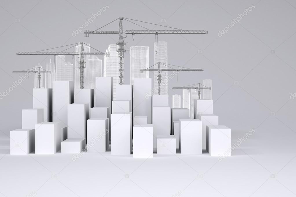 Minimalistische Stadt weiße Kuben mit Drahtrahmen Gebäuden und ...