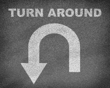 Texture with  turn around sign