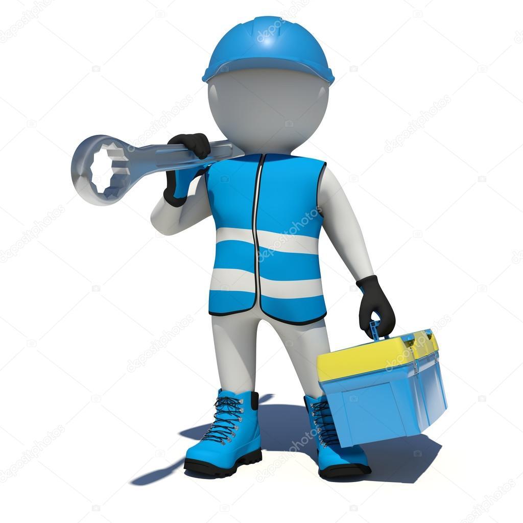 Trabajador en monos con caja de herramientas y la llave en - Cajas de herramientas precios ...