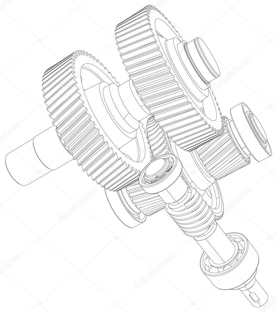 Engranajes con ejes en marco de alambre. Close-up. Vector de ...