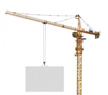 Building crane holding blank paper