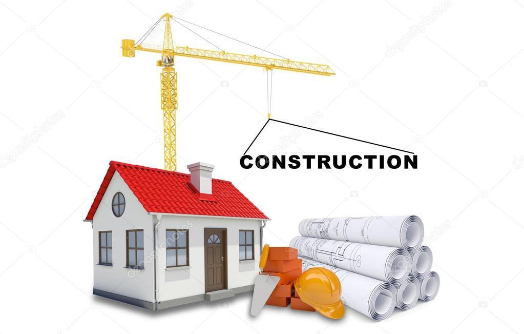Haus baustelle clipart  Kran mit Haus und Skizzen — Stockfoto #82257766