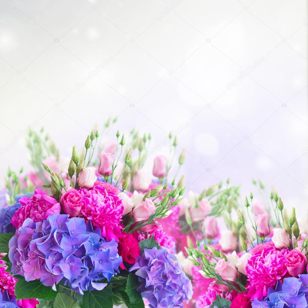Bright Pink And Blue Flowers Stock Photo Neirfys 123998820