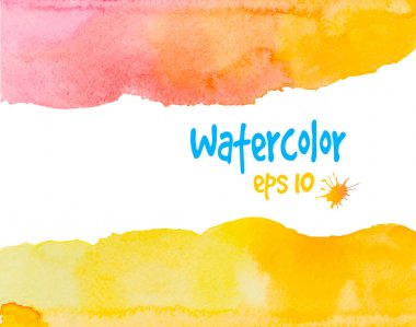 Multicolored vector watercolor painted yellow frame on white clip art vector