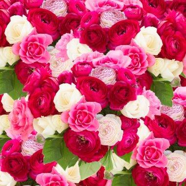 """Картина, постер, плакат, фотообои """"букет розовых цветков ранункула ирисы белые герберы художники"""", артикул 73788613"""