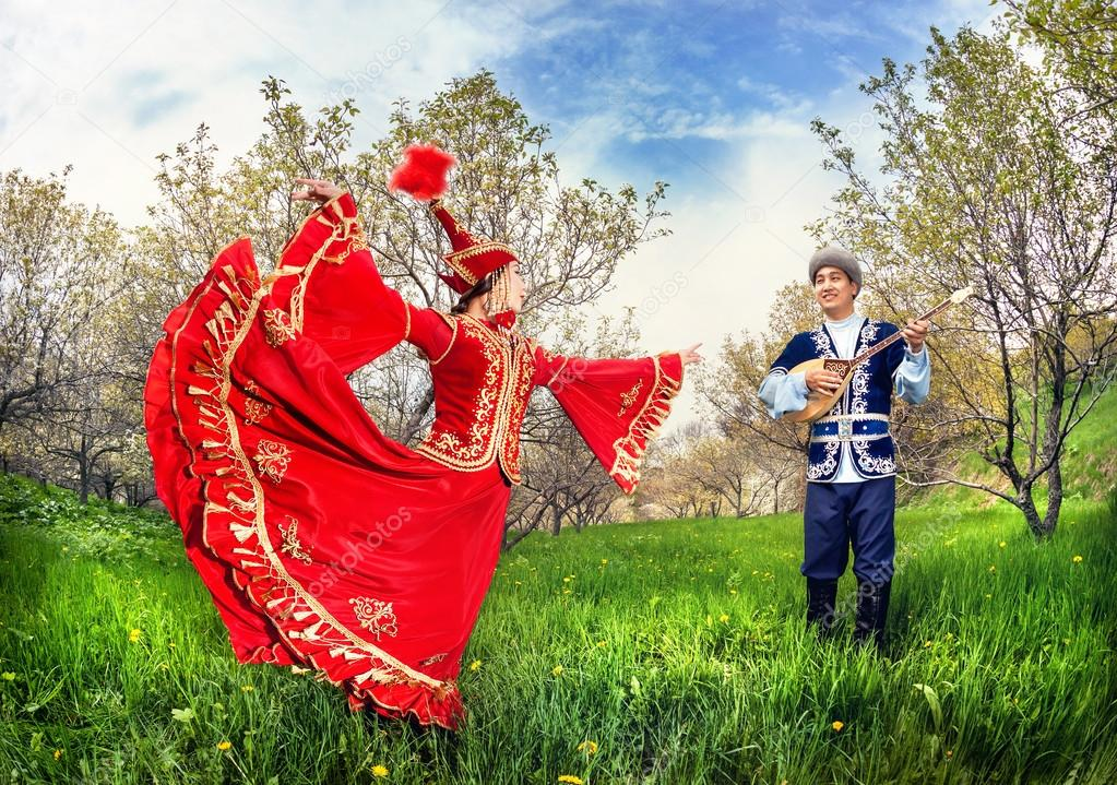 Kazakh couple in traditional costume