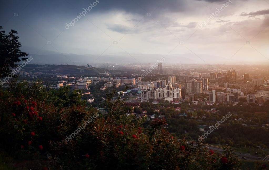 Beautiful view of Almaty city from Koktobe