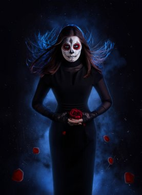 Sugar skull woman with rose
