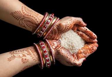 Indian hands with rice