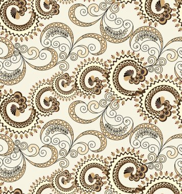 seamless pattern with wavy curls and swirls with polka dots