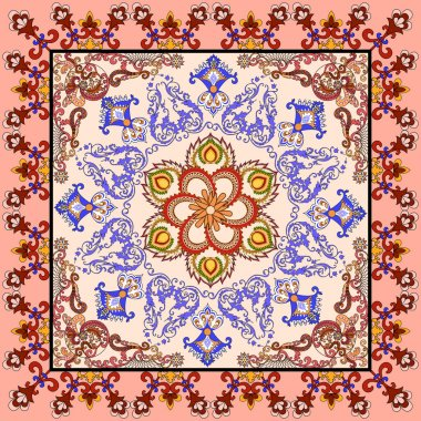 bandanna with Oriental ornament with a colorful border