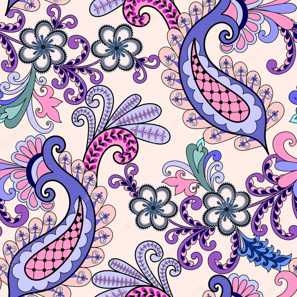 seamless paisley pattern in pink lilac tones