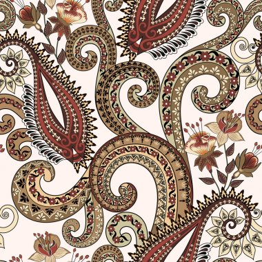 seamless pattern with paisley, fuchsia flowers and ornamental sw