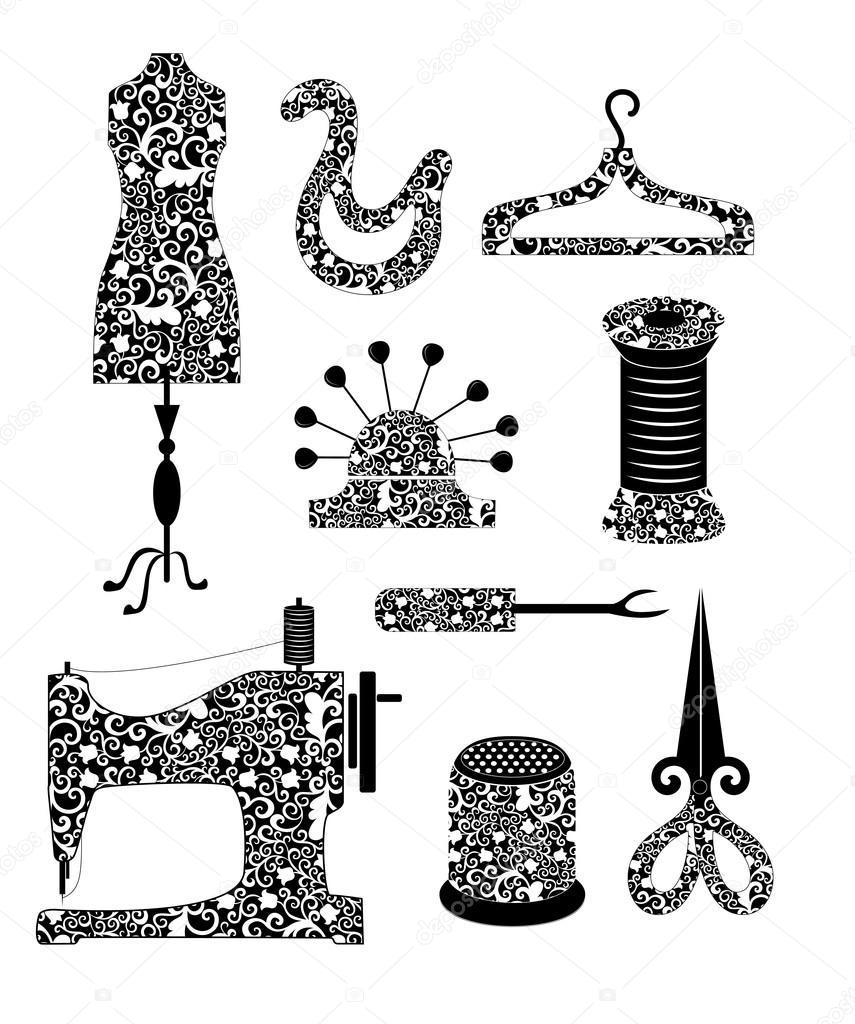 Werkzeugset in Schwarzweiß für Nähen Produktion im Vintage-Stil ...