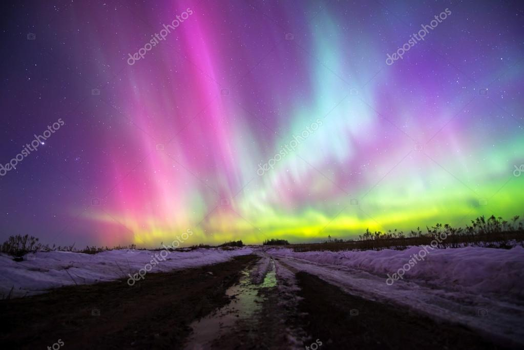 Northern lights (Aurora borealis) in Russia. Izhevsk