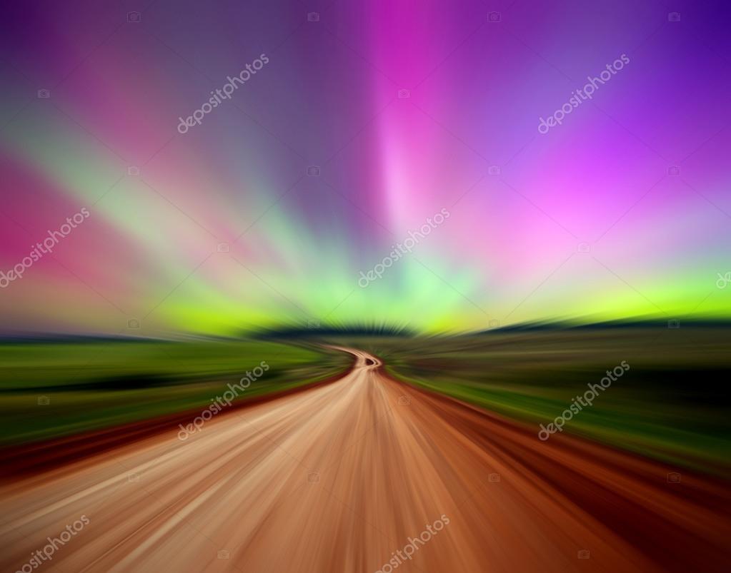 Road with Northern lights (Aurora borealis). Russia. Izhevsk 17.03.2015