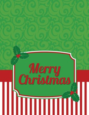 Elegant Striped Christmas Notecard with greeting