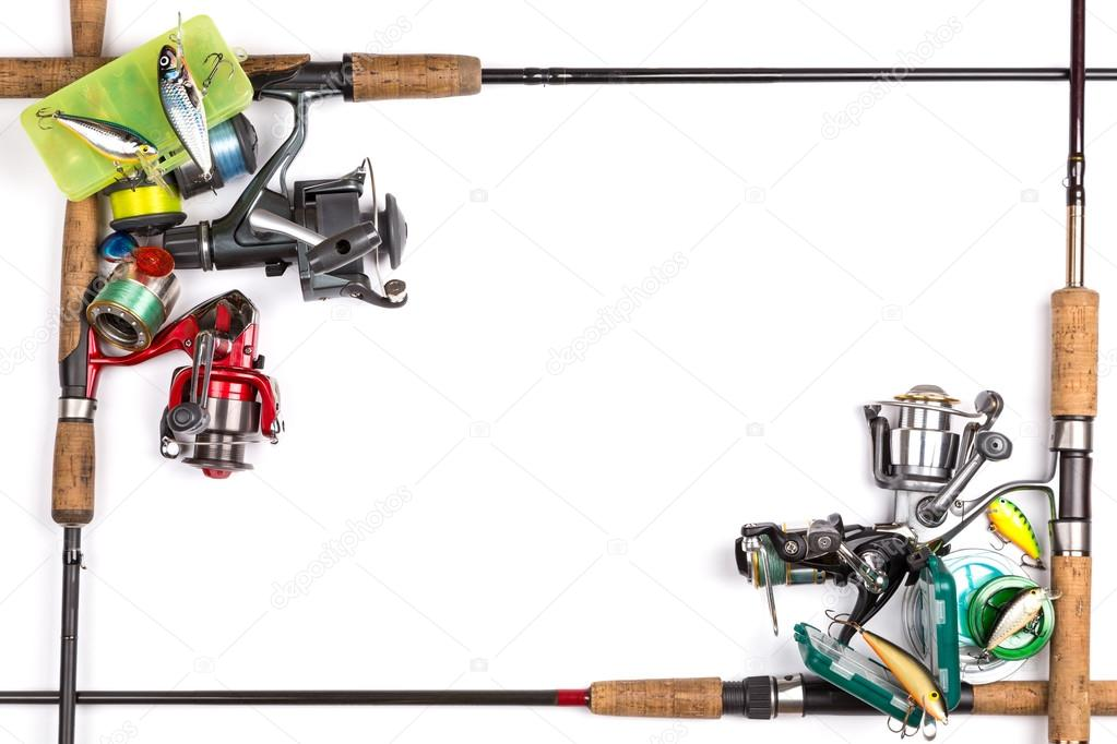 frame from different fishing tackles — Stock Photo © sytnik #103672502
