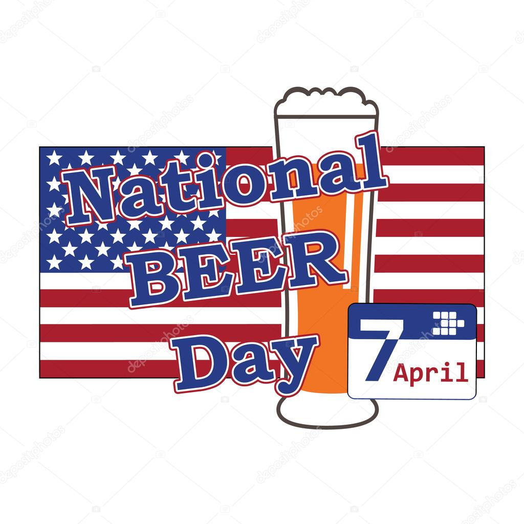 vector for national beer day in usa 7 april with beer glass on b
