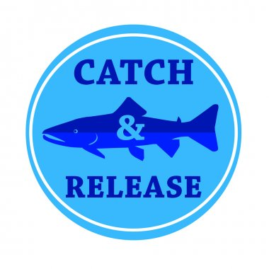 vector design emblem fishing catch & release with fish and lette