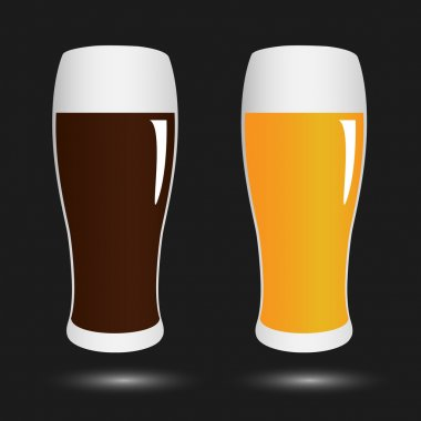 vector set volume glasses with dark and light beer on black back