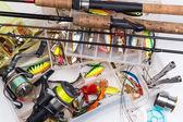 halászati megold - rúd, orsók, vonal és csalik mezőbe