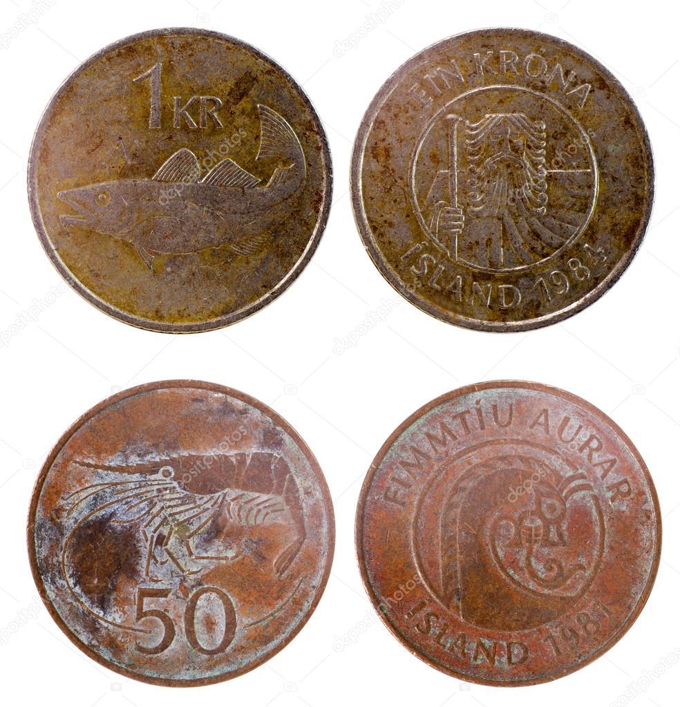 Zwei Alte Münzen Von Island Stockfoto Radnatt 68715921