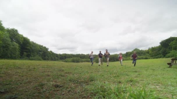 friends running towards the camera