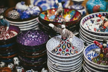 Colorful Turkish dishes on the market in Istanbul