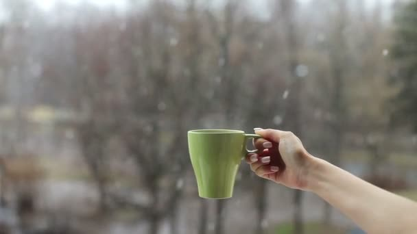 female hand holding a mug of hot drink on a background of falling snow